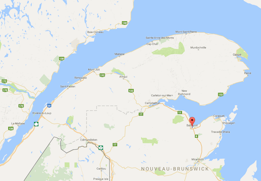 Map showing Bathurst, in New Brunswick.