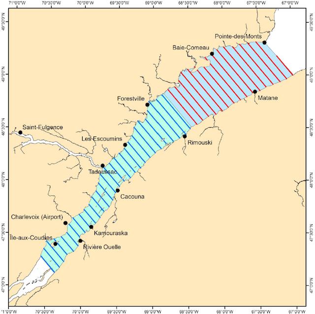 Image représentant l'aire de répartition estivale des bélugas du Saint-Laurent
