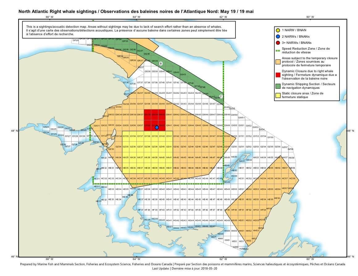 Carte des zones de fermeture temporaire dite dynamique.