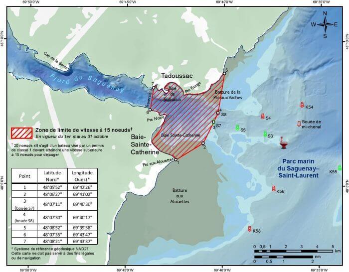 Zone de vitesse réduite à l'embouchure du Saguenay