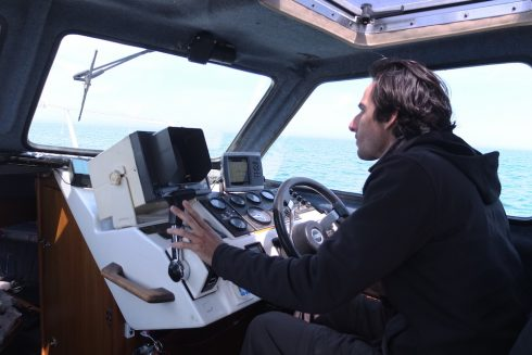 Timothée Perrero driving the Bleuvet, the GREMM research boat since 28 years.