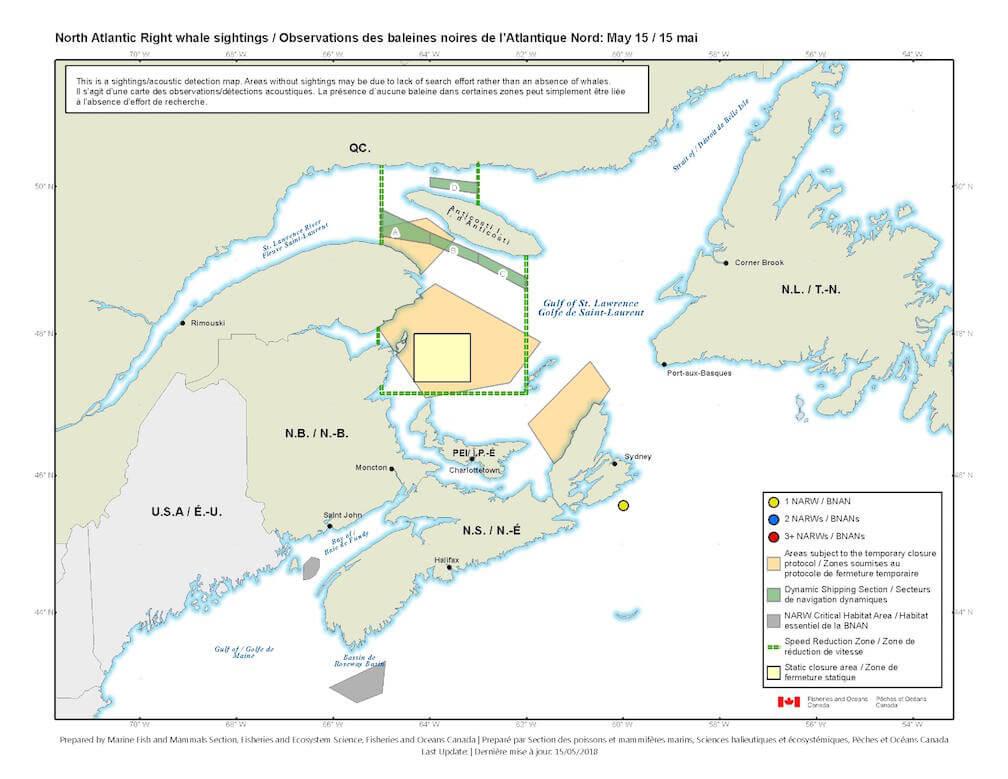 Carte des observations de la baleine noire de l'Atlantique Nord