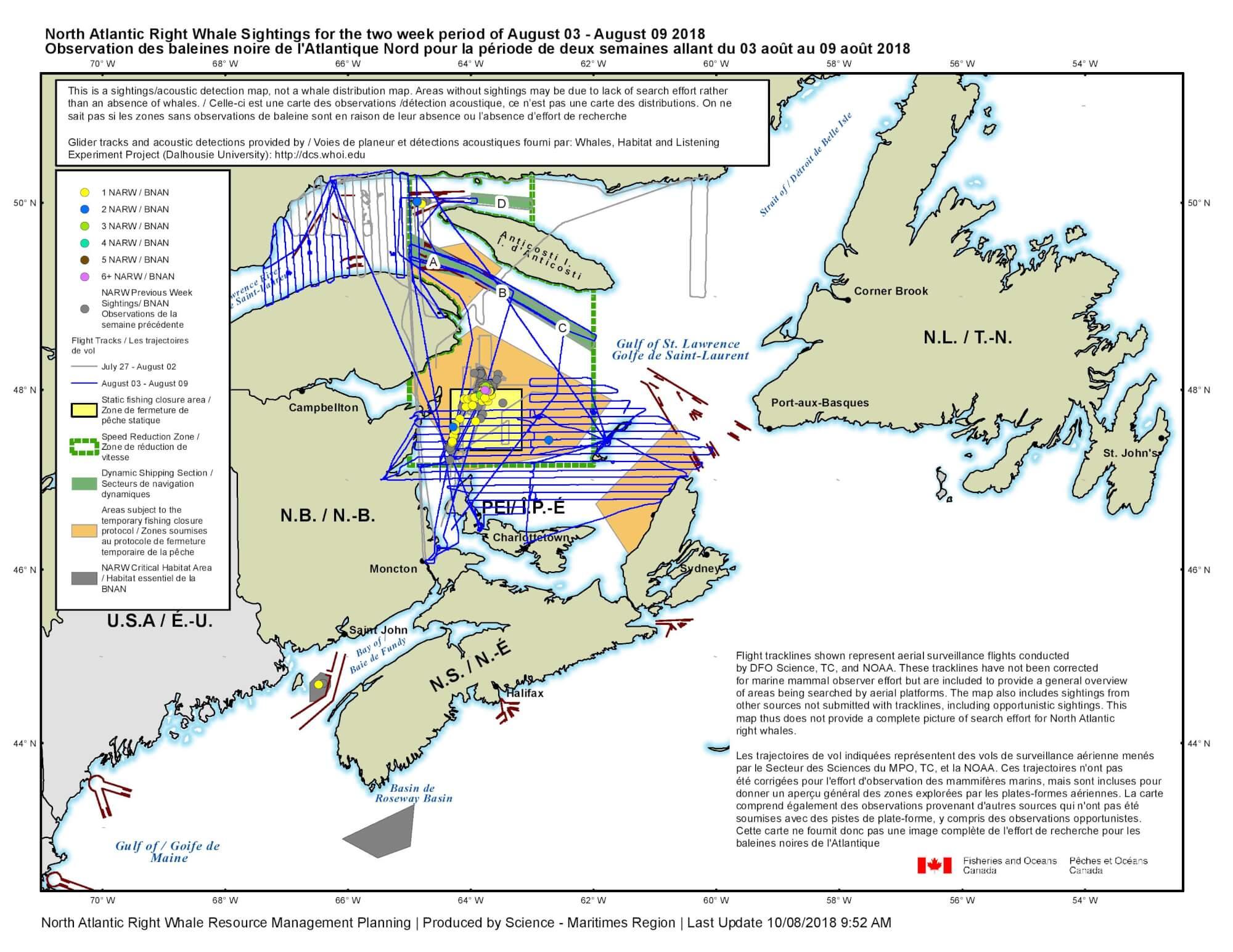 Carte des observations de baleines noires de l'Atlantique Nord pour la période allant du 3 aout au 9 aout 2018