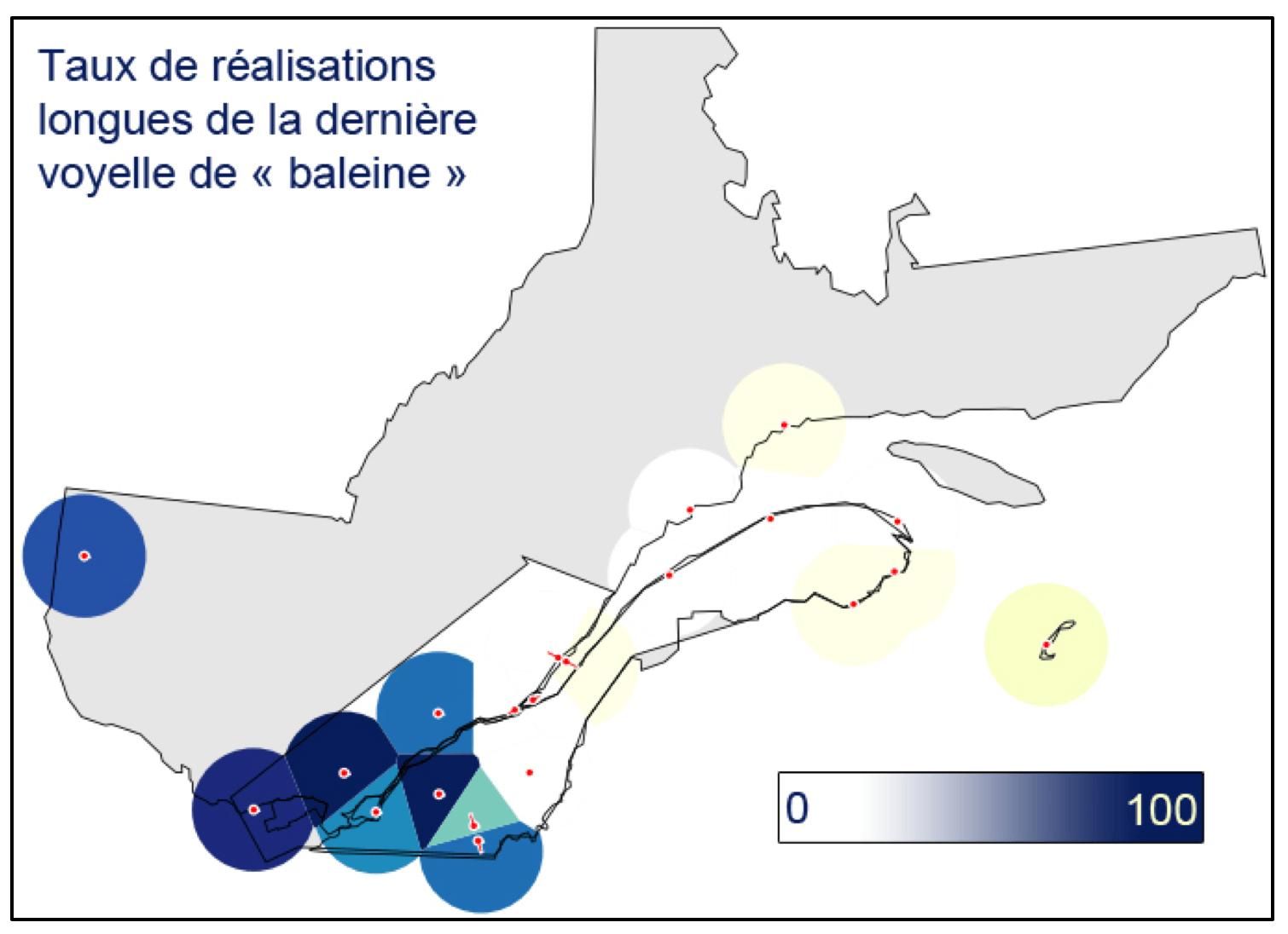 Carte du taux de réalisations longues de la dernière voyelle de «baleine»