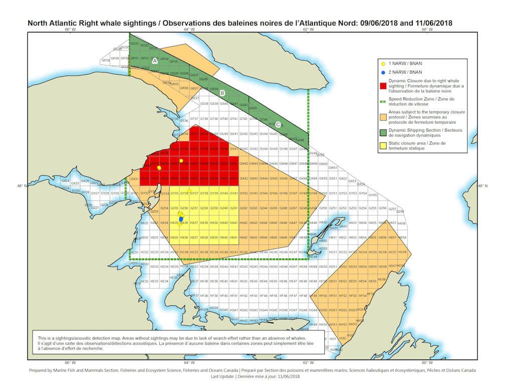 Carte des zones de pêche fermées pour prévenir les risques d'empêtrement pour les baleines noires