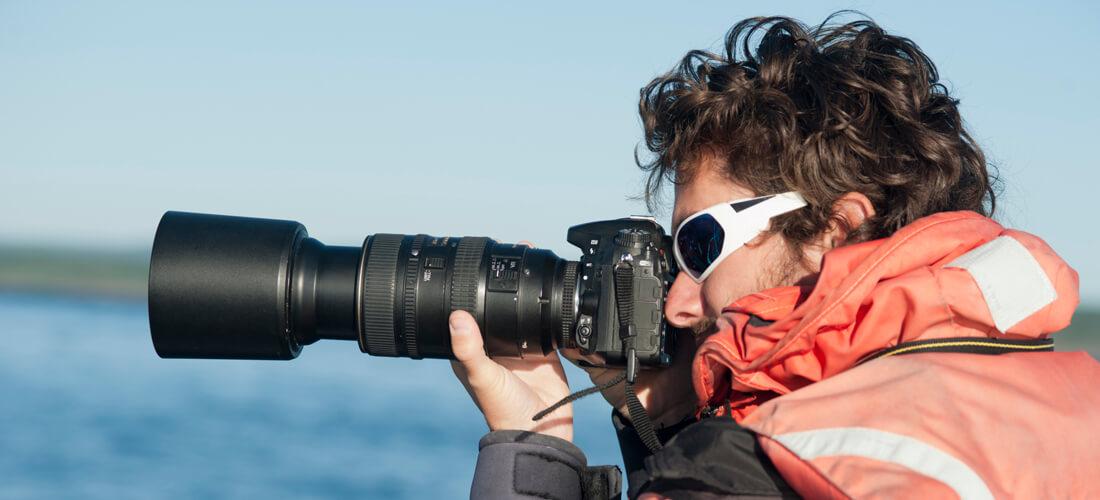 Mathieu Marzelière with a camera