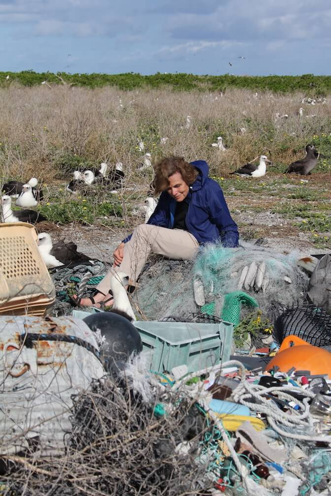Sylvia Earle is surrounded by albatros