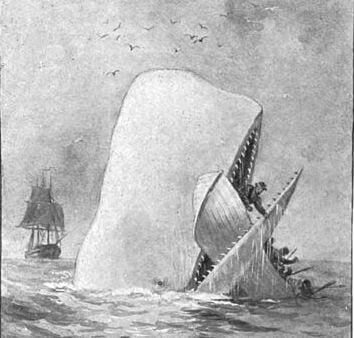 Une illustration qui représente Moby Dick croquant une embarcation de pêcheurs.