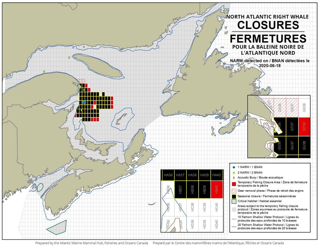 carte des fermetures de zones de pêche