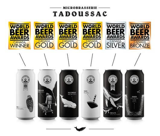 Varieties of beers from the Tadoussac microbrewery.