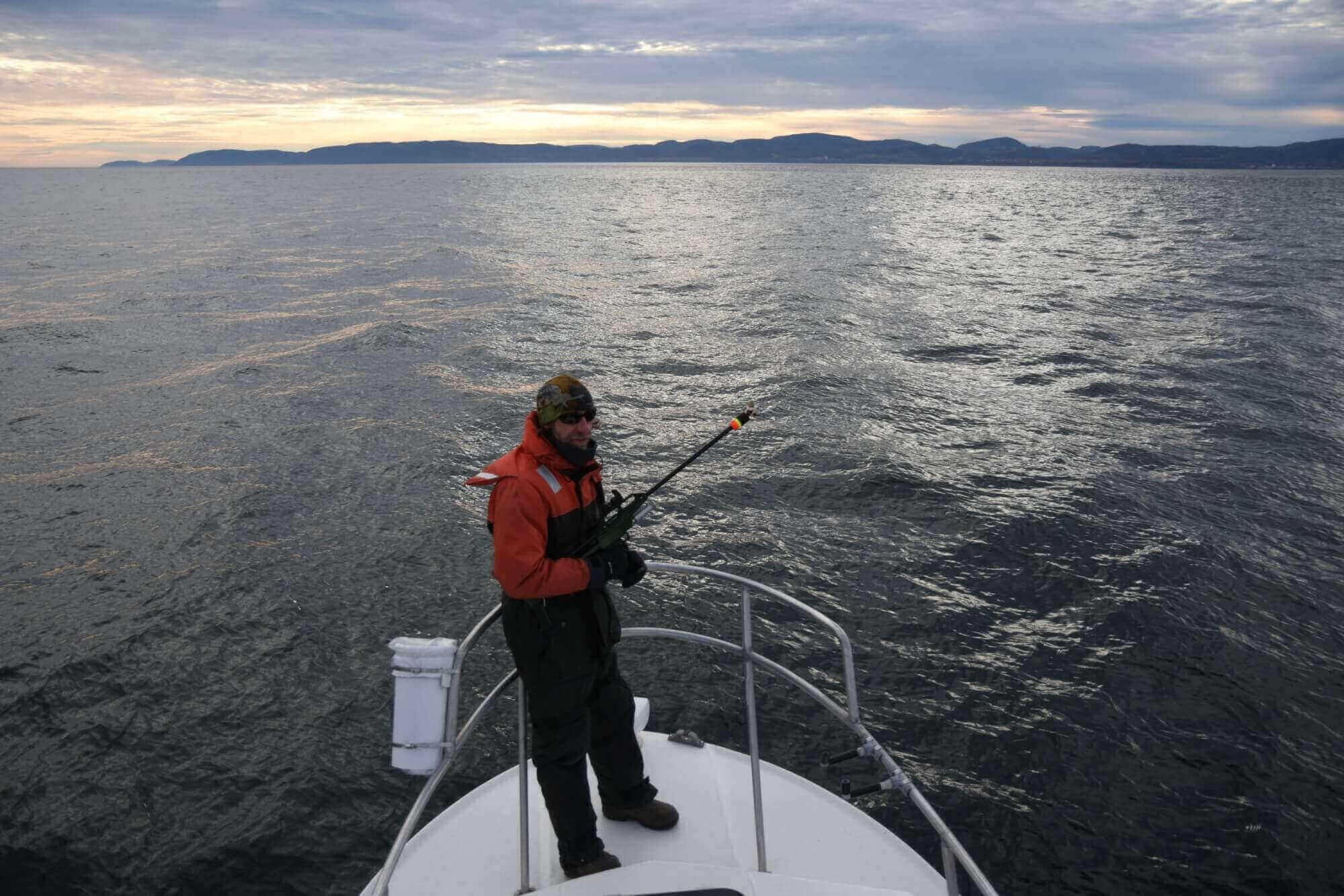 Michel Moisan au devant du Bleuvet du GEMM sur l'eau.