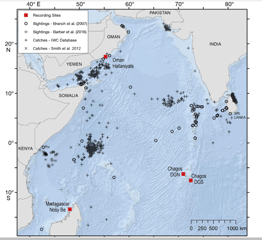 Map of the western Indian Ocean showing registration sites in Oman, the Chagos Archipelago, Diego Garcia South and Madagascar.